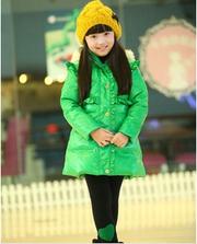 Deesha Однобортный перья кнопки декор длинные Детская одежда пальто де